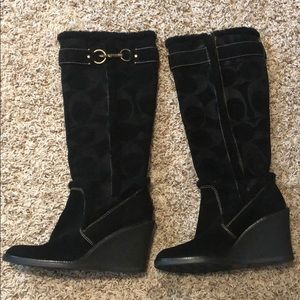 Knee-high black wedge Coach boots